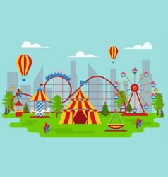 cartoon amusement park card poster vector image