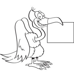 Cartoon buzzard holding a sign vector image
