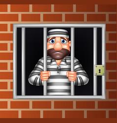 Cartoon criminal in jail vector
