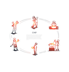 chef - men and women in special uniform cooking vector image