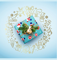 christmas card with a blue box and a wreath vector image