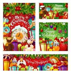 Christmas gift greeting card with new year garland vector