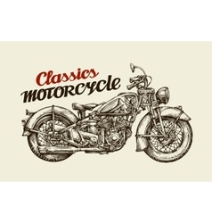 Classics motorcycle Hand drawn vintage motorbike vector image