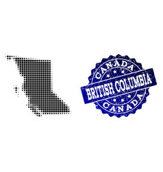 Collage of halftone dotted map of british columbia vector