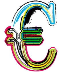 Colorful Grunge euro symbol vector image