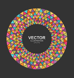 Colorful triangles circle frame border vector
