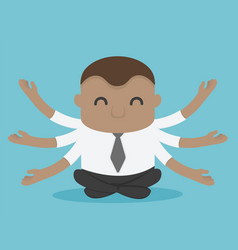 concept cartoon african businessman meditation vector image