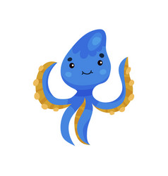cute blue octopus cartoon character funny vector image