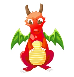 Cute cartoon red dragon vector