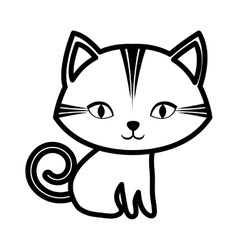 Cute cat stripes sitting outline vector