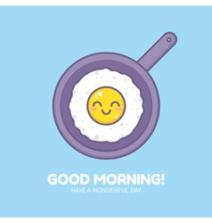 Cute fried omelet vector image