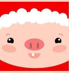 cute pig face square card santa claus piglet vector image