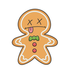 Dead christmas holiday ginger bread cookie cartoon vector