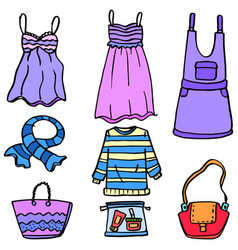 doodle of women clothes bag and accessories vector image