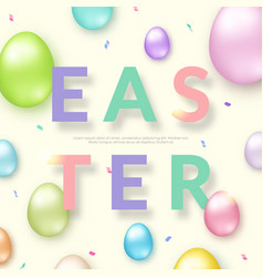 easter card with 3d ornate eggs on light vector image