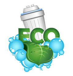 eco water filtration blue drops and green leaf vector image