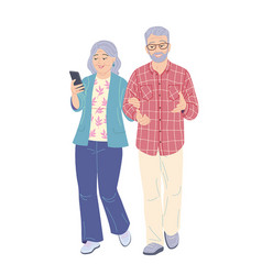 elderly couple walking flat vector image