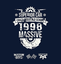 Emblem massive superior car in retro style vector