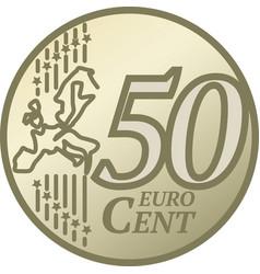 Fifty euro cent coin vector