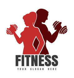 fitness emblem with silhouettes athletic man vector image