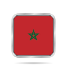 flag of Morocco shiny metallic gray square button vector image