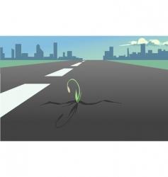 Flower in the asphalt road vector