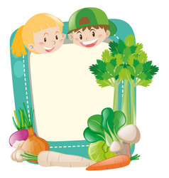 frame template with kids and vegetables vector image