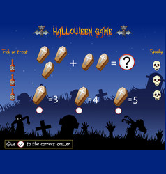 Game count the coffins in the halloween theme vector