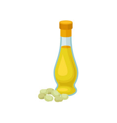 glass bottle of soya oil healthy vegetarian food vector image