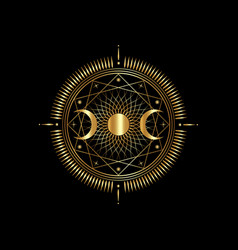 Gold triple moon mystic icon sacred geometry wicca vector