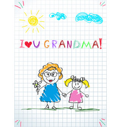 grandmom and grandchild together holding hands vector image