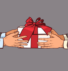 hands giving gift to another greeting with holiday vector image
