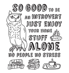 Happy introvert concept black and white vector