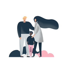 happy parents and adopted dark skin son vector image