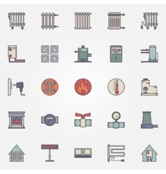Heating flat icons vector image