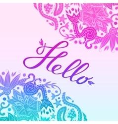 Hello Border Blue and Purple White 2 vector
