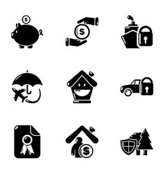 Insurance premium icons set simple style vector
