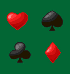 Isolated four card suits for poker game in casino vector