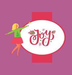 joy poster woman in skirt and sweater green tree vector image