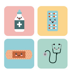 kawaii medicine icons vector image