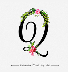 Letter q watercolor floral background vector