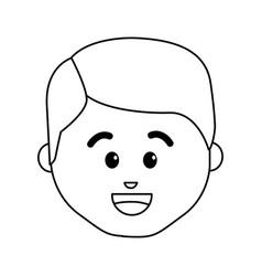 line cartoon man face happy expression vector image