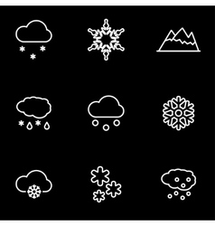 Line snow icon set vector