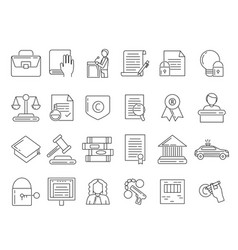 Linear symbols of lawyer criminals and copyright vector