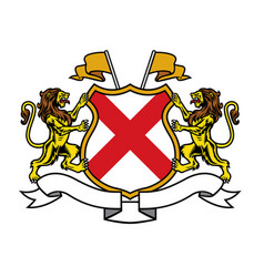 lion heraldry in classic coat arms style vector image