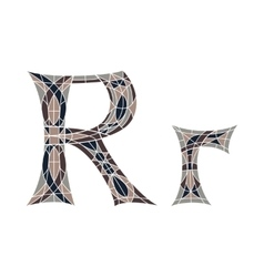 Low poly letter R in brown mosaic polygon vector