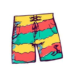 Man swimming shorts color hand drawn vector