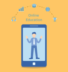 man teaching online in smartphone vector image