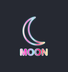 moon neon sign black background vector image