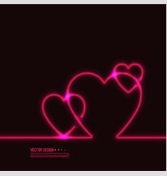 neon glowing heart vector image
